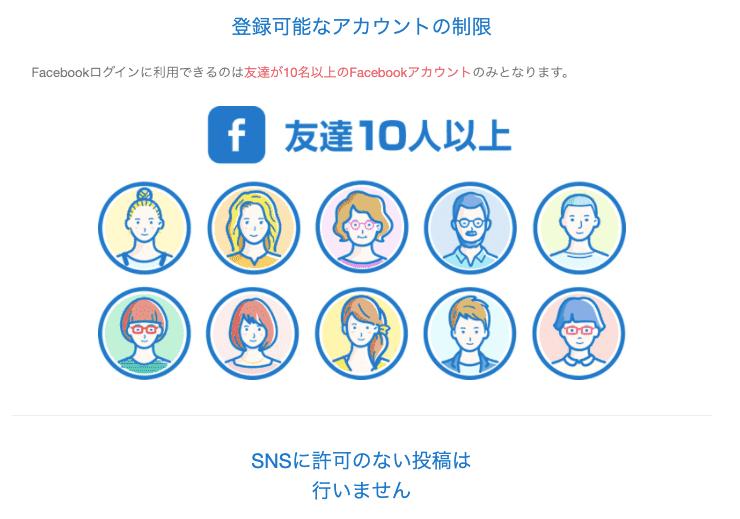 with登録に必要なFacebook友達10人以上